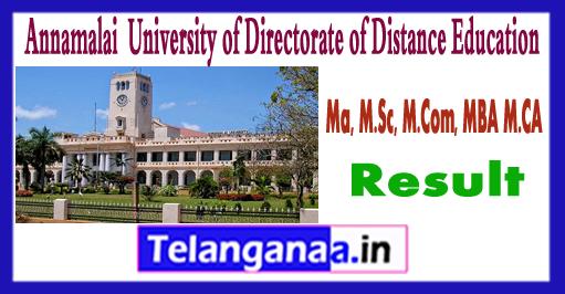 Annamalai University DDE 2017 MA M.Sc M.Com MBA MCA Result