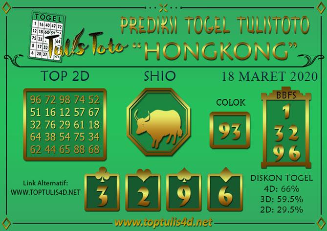 Prediksi Togel HONGKONG TULISTOTO 18 MARET 2020