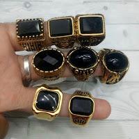 Jual Cincin Batu Black Onix Ring Titanium