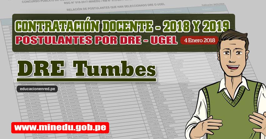 DRE Tumbes: Lista de Postulantes por UGEL DRE - Contrato Docente 2018 (.PDF) www.dret.edu.pe