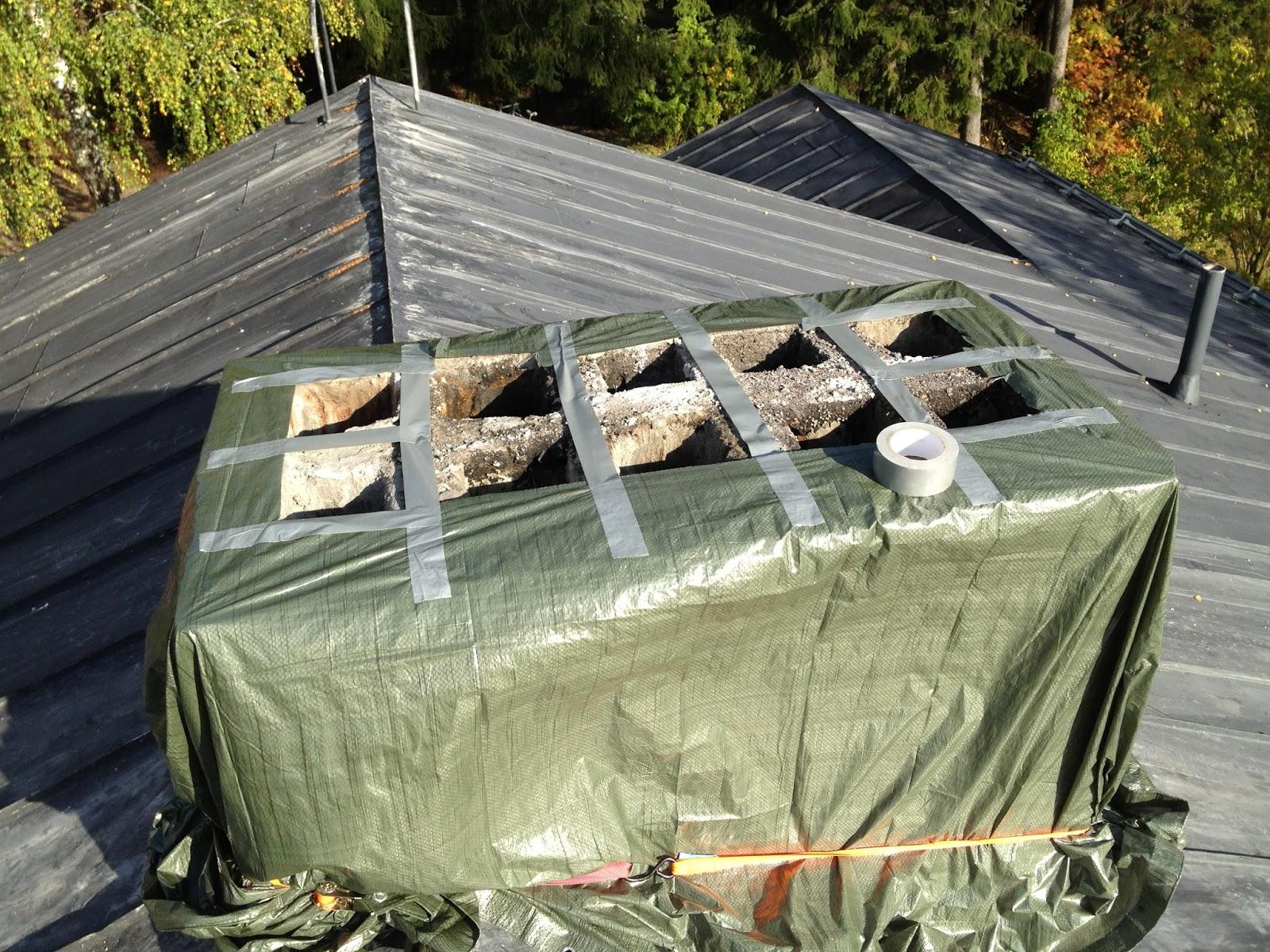 Kun Kimmo talon osti: Savupiipun hormien massaus syksyllä 2012