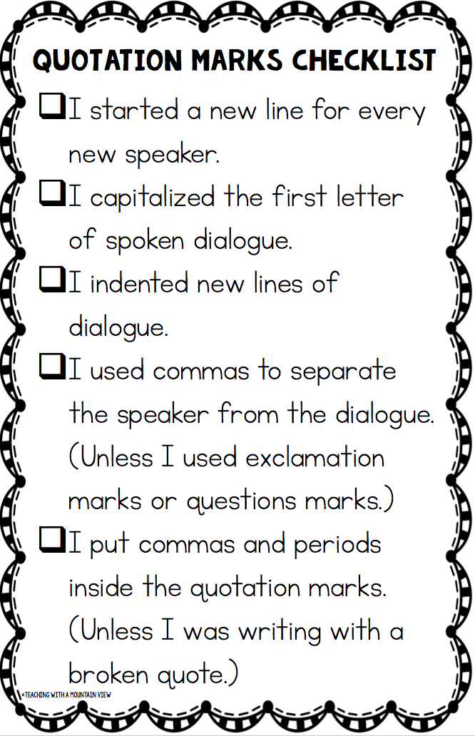 Teaching Quotation Marks and Dialogue – Punctuating Dialogue Worksheet