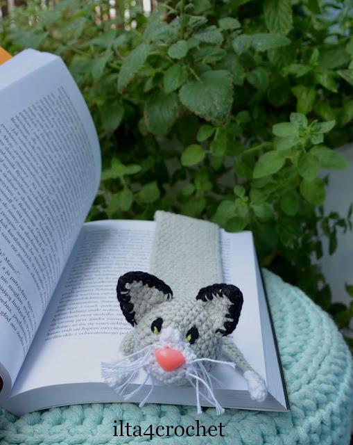 kotek szydełko książka zakładka