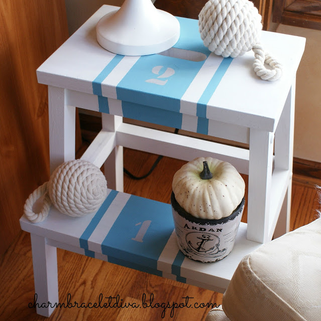 painted stenciled Ikea Bekvam Step Stool