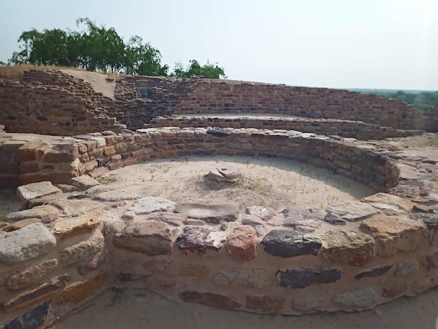 Stone foundation of circular house at Dholavira citadel