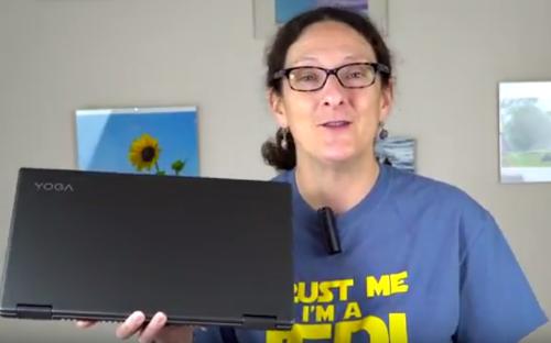 """Lisa Gade Holding The Lenovo Yoga 15"""""""