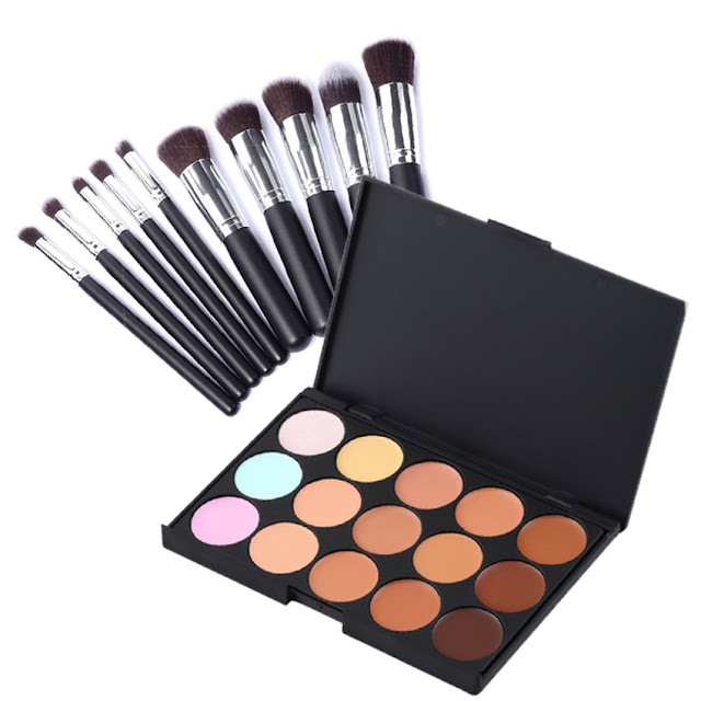 Stylish 15 Colour Concealer Make Up Palette + 10 pcs Pro Cosmetic Brush Set Kit
