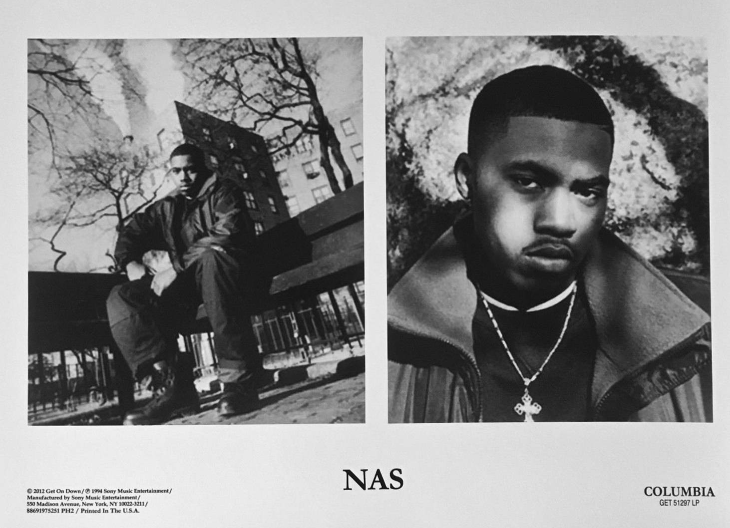 "Nas Illmatic Press Kit 1994 Columbia ""Hip-Hop Nostalgia"" Publicity Photo"