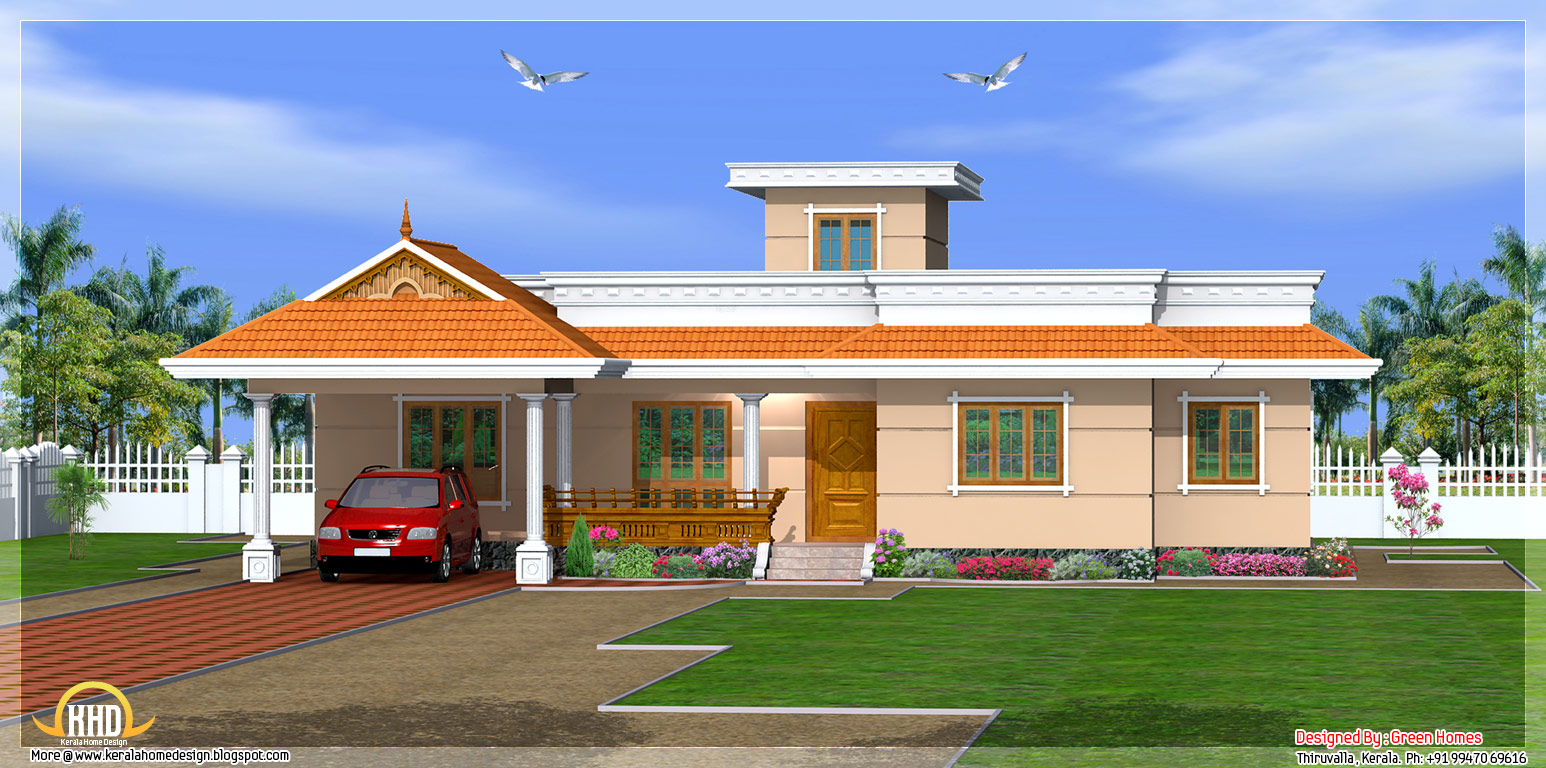 Kerala style 3 bedroom one story house 1500 sq ft for One level house plans with porch