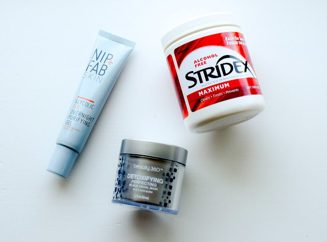 a picture of Stridex Maximum Pads, Nip + Fab Glycolic Fix Overnight Purifying Gel, Beauty 360 Detoxifying Perfecting Black Facial Mask