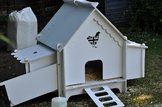 This white chicken coop is an elegant carpenter's project. Chicken condo is a better description!