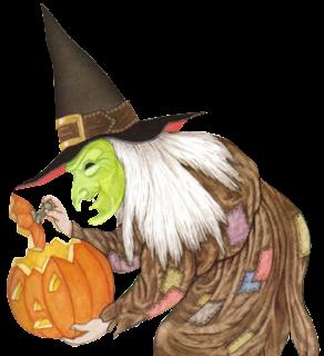bruja vieja, jorobada y fea con una calbaza imagenes halloween