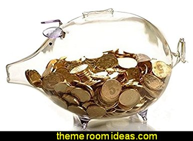 Clear glass Piggy Bank