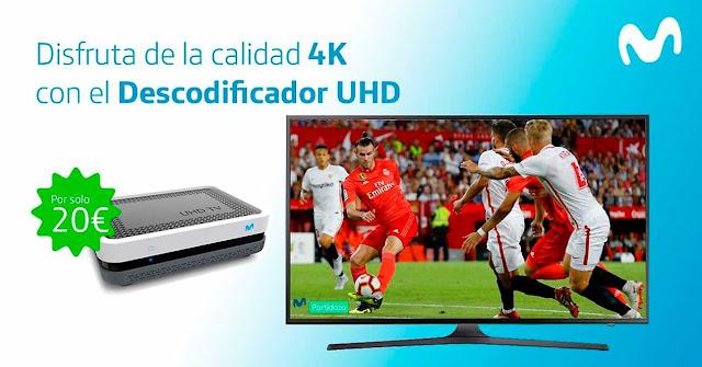 Movistar comienza a ofrecer su decodificador UHD por 20 euros