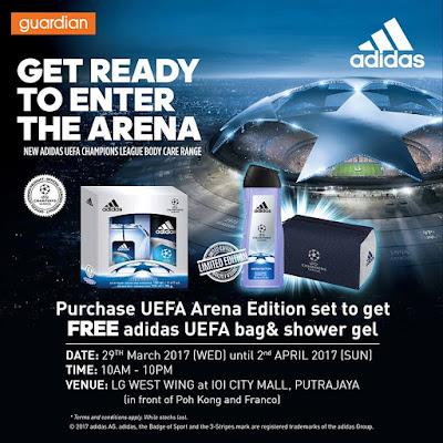 Free Adidas UEFA bag and Shower Gel Guardian IOI City Mall Putrajaya