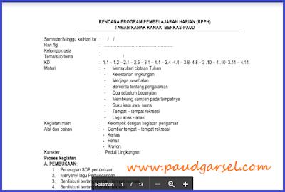 RPPH PAUD Usia 4-5 Tahun Tema Negaraku Semester 2 Edisi 2018