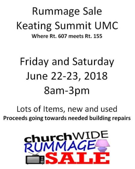 6-22/23 Rummage Sale Keating Summit UMC