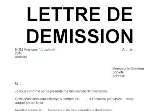 Modèle lettre de démission avec préavis en word doc