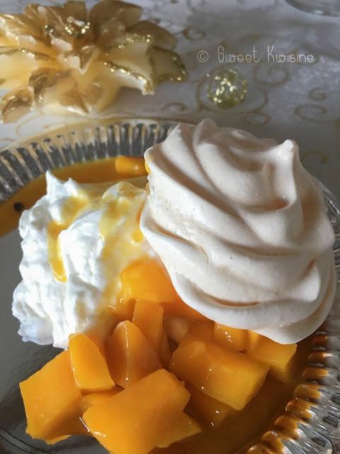 sweetkwisine, pavlova, meringue, mangue, fruit de la passion, maracuja, cuisine antillaise, dessert, meringue, réveillon, nouvel an, noel, martinique, guadeloupe