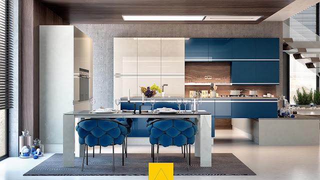 kiểu nhà bếp màu xanh độc đáo