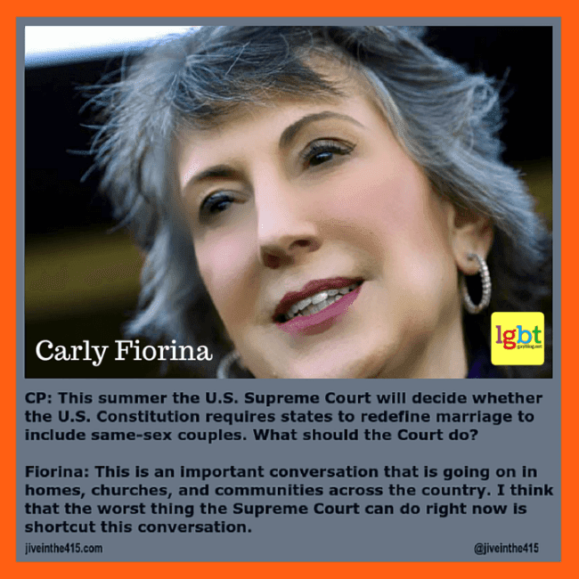 A photograph of anti-gay bigot and candidate for the Republican nomination for President, Carly Fiorina.