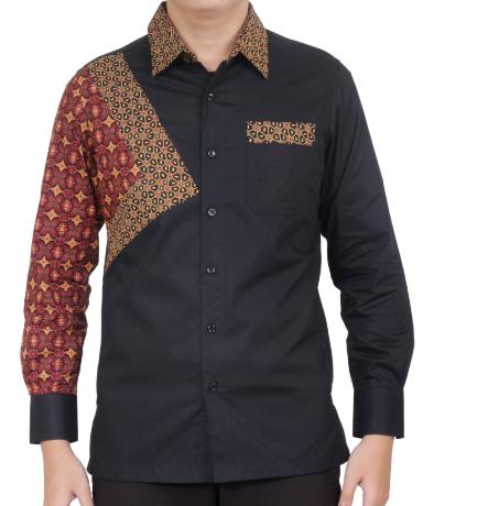 Model Baju Batik Pria Lengan Panjang Kombinasi Polos