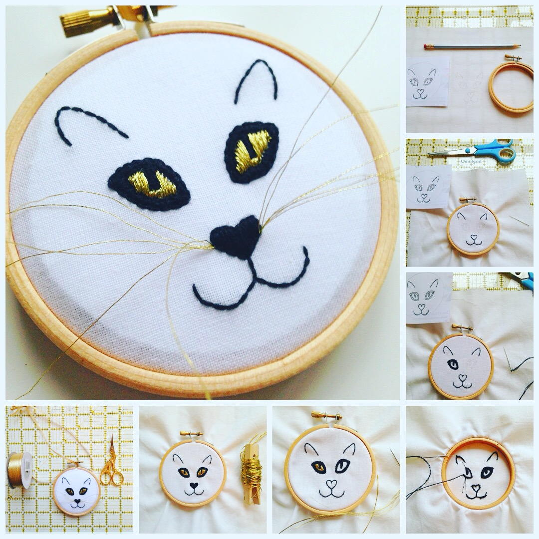 Adventures & Tea Parties Cat Embroidery