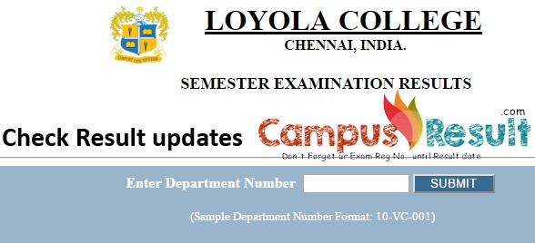 Loyola College Chennai Semester Exam result- erp loyolacollege edu