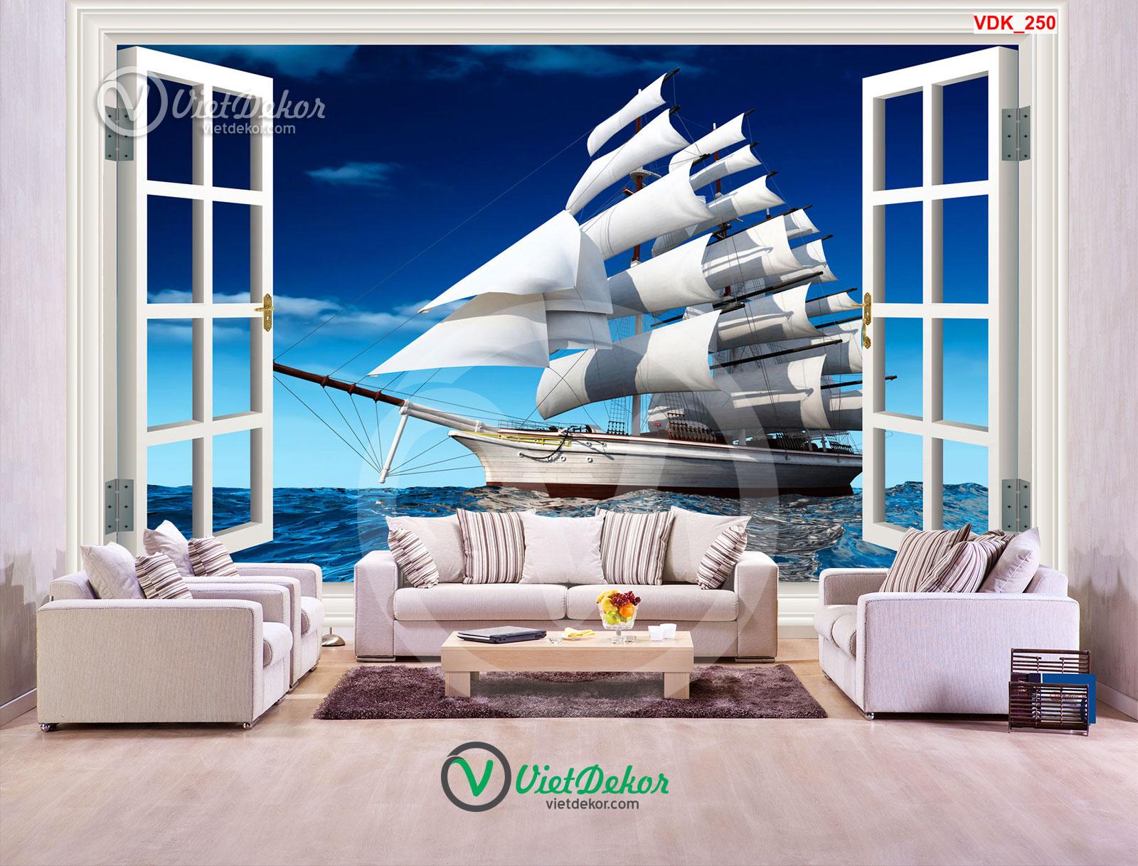 Tranh dán tường 3d cửa sổ thuận buồm xuôi gió