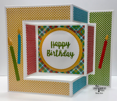 Our Daily Bread Designs Custom Dies: Tri-Fold Card with Layers, Double Stitched Circles, Celebration Words, Birthday Candles, Paper Collection: Birthday Brights