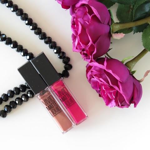 Maybelline Vivid Matte Liquid Lipsticks (15 Electirc Pink ir 50 Nude Thrill) skysti lūpų dažai
