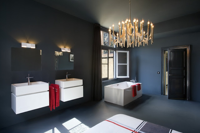All black bathroom with white furniture