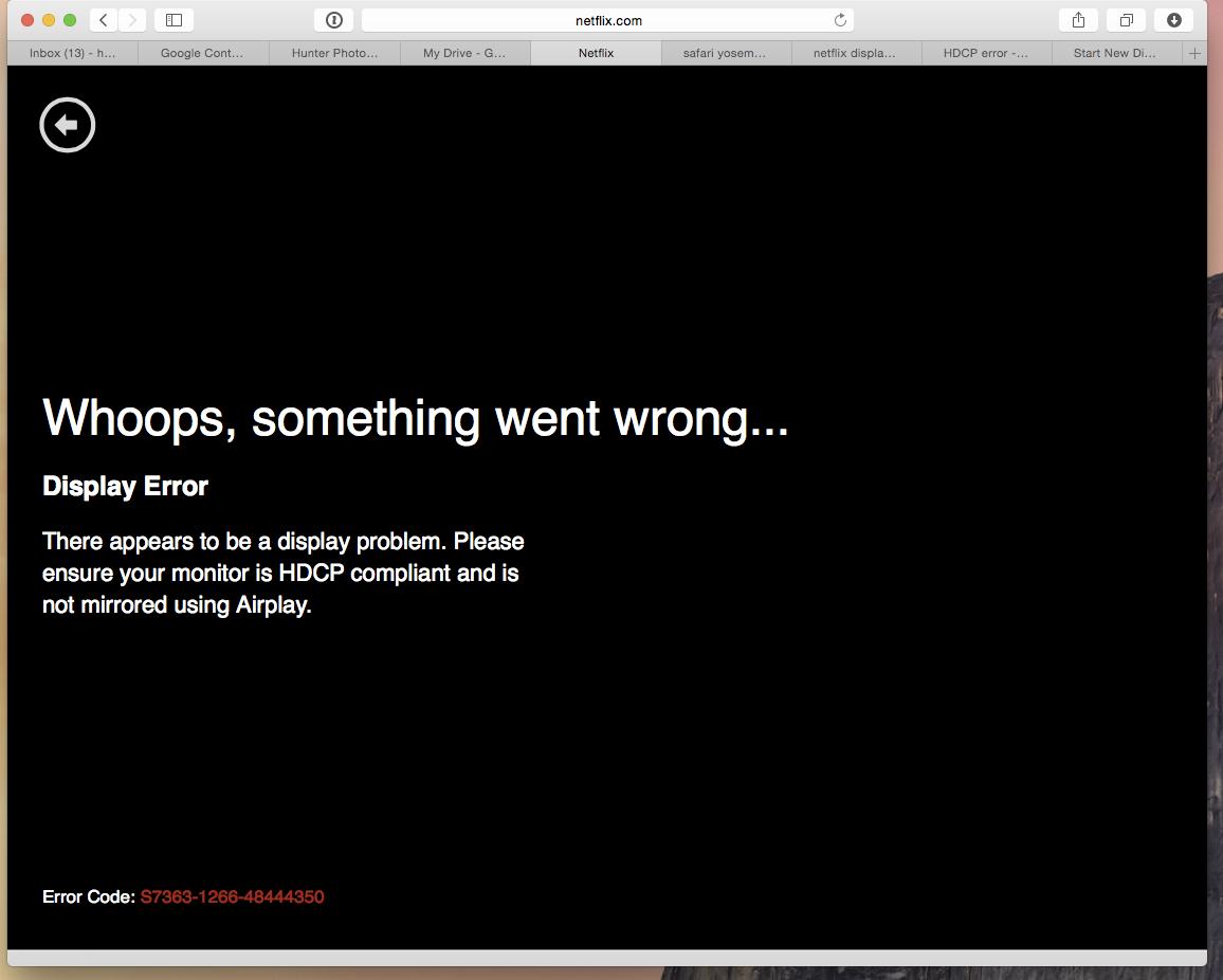 Fix HDCP Compliant display error when watching Netflix Video