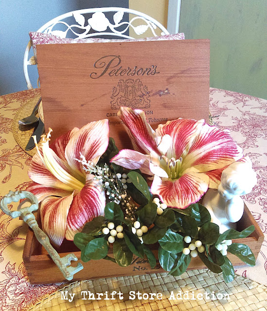 15 minute amaryllis repurposed cigar box centerpiece
