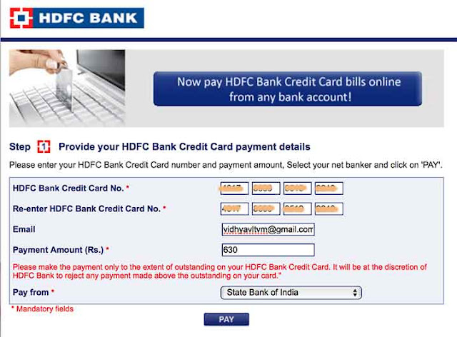 HDFC Bank Credit Card Payment
