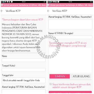 verifikasi KTP di althea