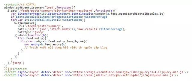 Sử dụng phương pháp ajax queue jquery tải hết URL nguồn cấp Blogger