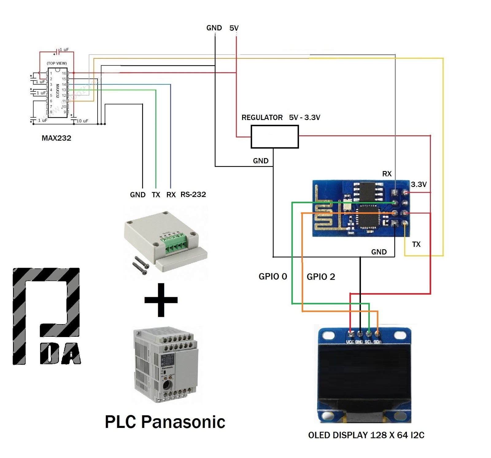 Esp8266 Scada Svg Modbus Rtu Display Oled Plc Panasonic Fpx C14r Wiring Diagram Automation Direct Pdacontrol