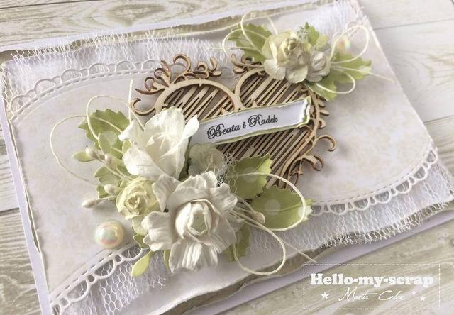 kartka wykonana według kursu na szybką kartkę ślubną
