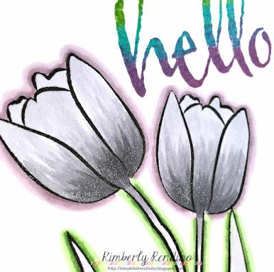 winnie & walter | monochromatic stamping | kimpletekreativity.blogspot.com | flowers | handmade | papercraft | handmade card  | clear stamps