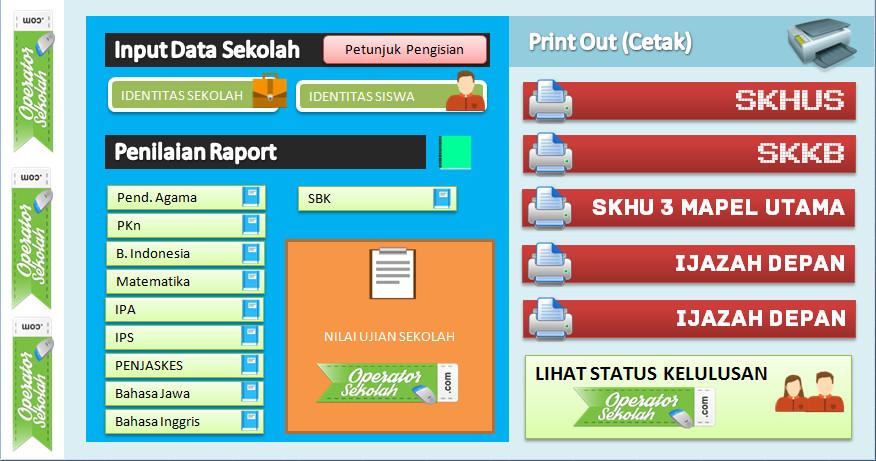 Aplikasi Cetak Format Ijazah 2016 (SKHUS-SKHU) lengkap dengan Pengolahan Nilai