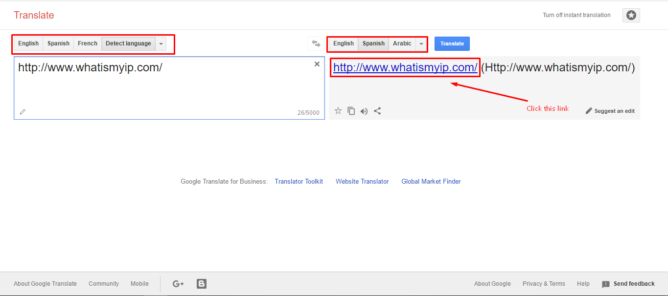 How to visit blocked websites through google translate without any and make sure everything is perfect and in the place of the whatismyip replace any website link which you wanted to unblock and click on translate ccuart Gallery