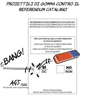 catalogna, referendum, indipendanza,  proiettili di gomma, spagna, vignetta, satira