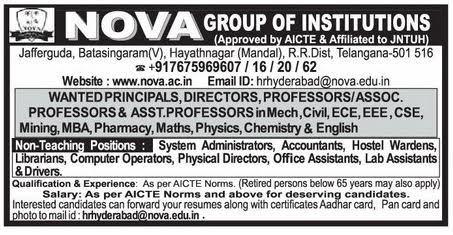 Nova Group of Institutions Wanted Professor/Associate Professor ...