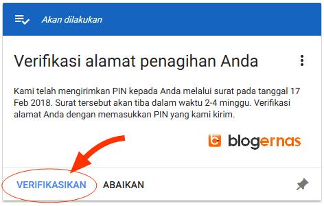 Cara Detail Verifikasi PIN Google Adsense