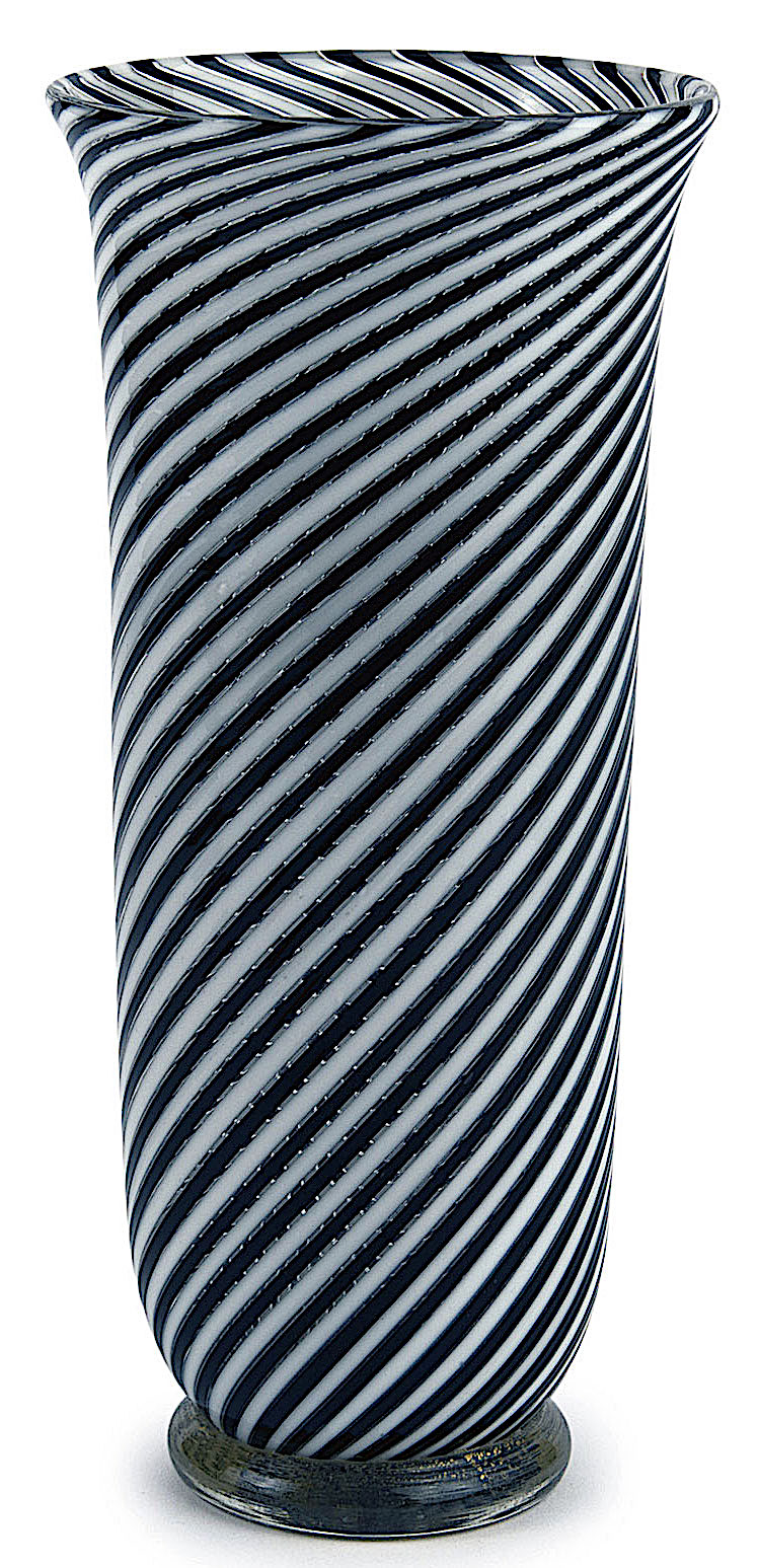 a 1954 Murano vase in black and white stripes, a color photograph