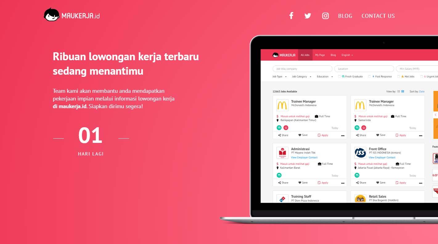 Situs Lowongan Kerja Terbaru Maukerja.id siap menjadi solusi masalah pengangguran di Indonesia