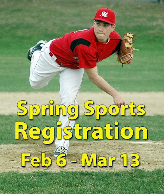 Baseball pitcher above text: Spring Sports Registration Feb 6 - Mar 13