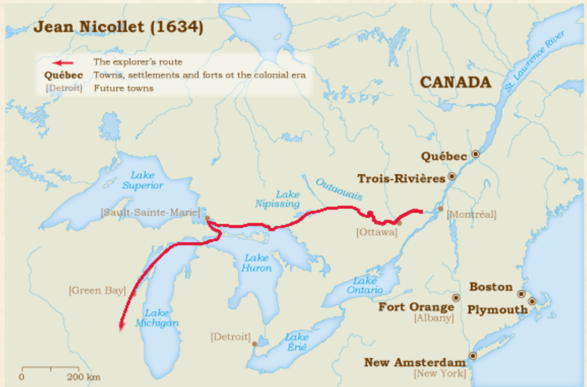 jean nicolet s route of exploration