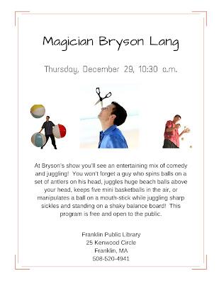 Magician Bryson Lang, Thursday, December 29, 10:30 AM.